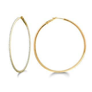 14k Yellow Gold over Silver 5/8ct TDW Diamond Round Hoop Earrings (H-I, I2-I3)