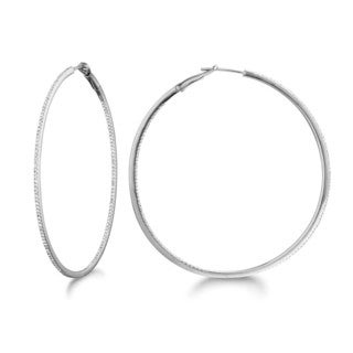 Sterling Silver 0.63ct Diamond Women's Hoop Earrings