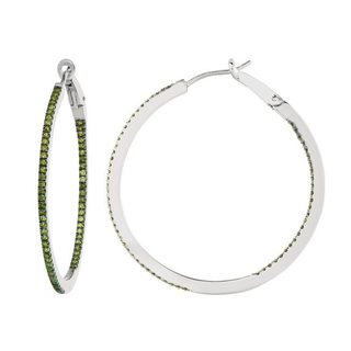 Sterling Silver 5/8ct TDW Diamond Round Hoop Earrings