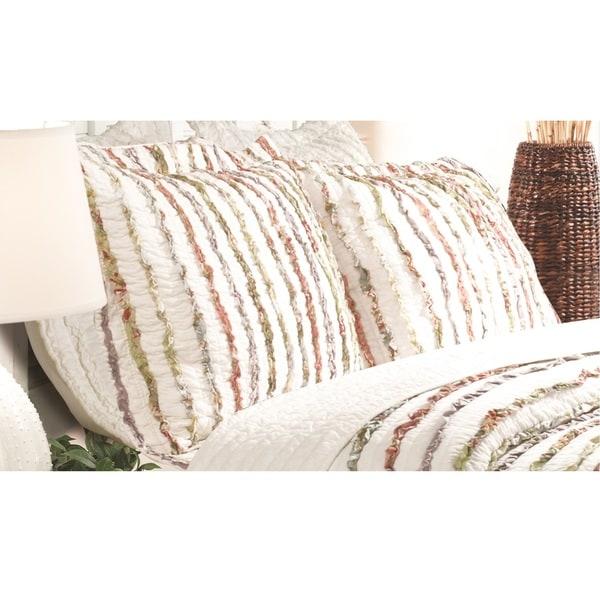 Greenland Home Fashions  Bella Ruffle Pillow Shams, set of two (2)