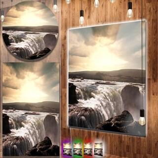 Designart 'Black and White Iceland Waterfalls' Landscape Metal Wall Art
