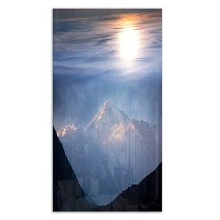 Designart 'Peak of Winter Mountains At Sunset' Landscape Metal Wall Art
