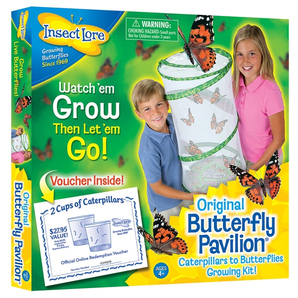 Insect Lore Kids' Butterfly Pavilion Mesh Growing Kit With 10 Caterpillars