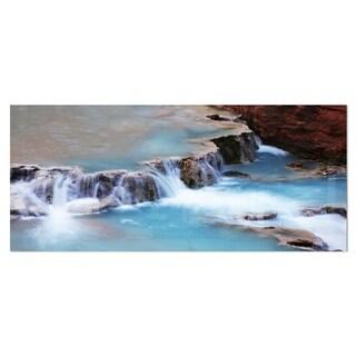 Designart 'Beautiful Blue Water Cascade' Large Seashore Metal Wall Art