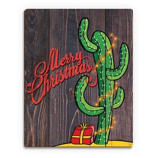 'Dark Cactus Tree ' Printed Wood Wall Art