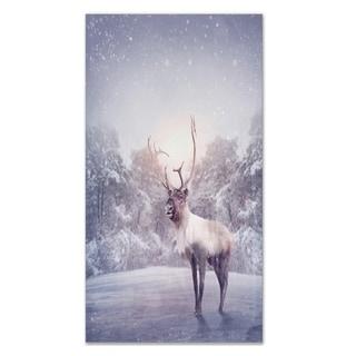 Designart 'Huge Reindeer Standing in Snow' Extra Large Animal Metal Wall Art