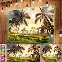 Designart 'Beautiful Palm Plantation in Hawaii' African Landscape Metal Wall Art
