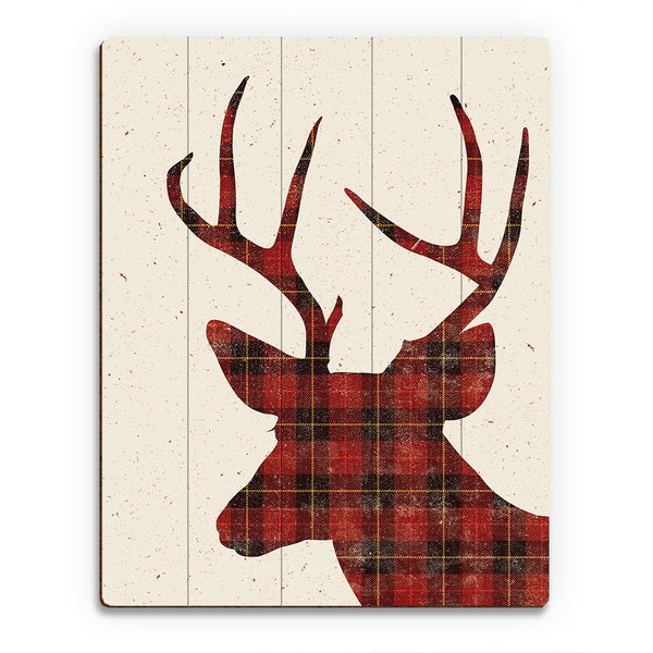 Superbe Plaid Deer U0026#x27; Printed Wood ...