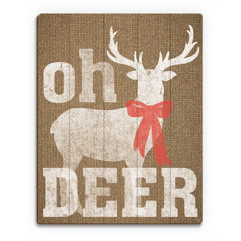 'Oh Deer Burlap ' Printed Wood Wall Art