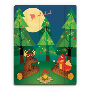 'Camping Out for Clause Night ' Printed Wood Wall Art