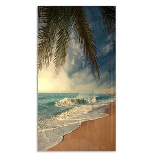 Designart 'Beautiful Tropical Beach with Palms' Varnish Beach Metal Wall Art