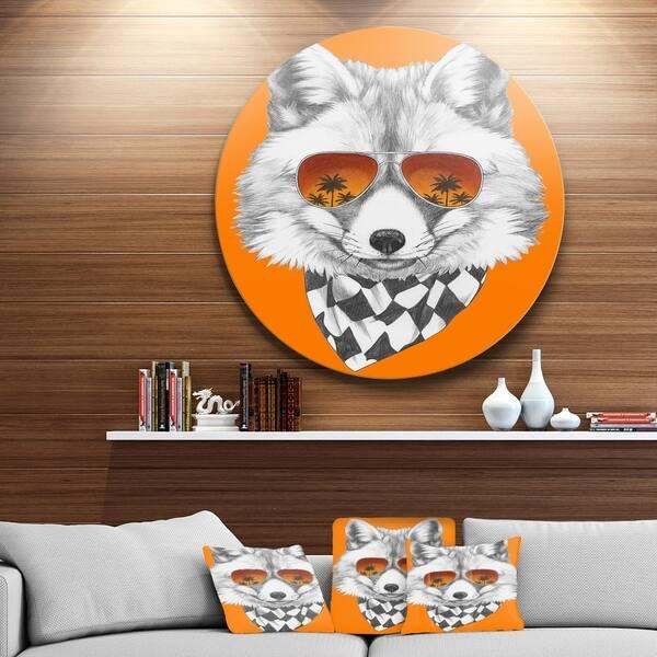 Designart Fox With Mirror And Sunglasses Contemporary Animal Art Metal Wall Art Overstock 13622020