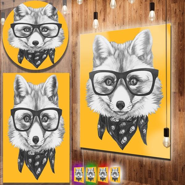 Designart \'Funny Fox with Formal Glasses\' Contemporary Animal Art ...