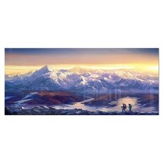 Designart 'Winter Mountains with Tourists' Landscape Metal Wall Art