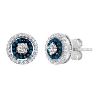Sterling Silver 1/8ct TDW Blue Diamond and White Topaz Cluster Earrings
