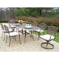 Dining Set with Oval Table, 4 Chairs, 2 Swivel Rockers and Cushions