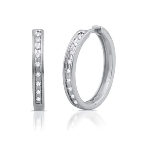 Sterling Silver 1/5ct TDW White Diamond Large Round Hoop Earrings