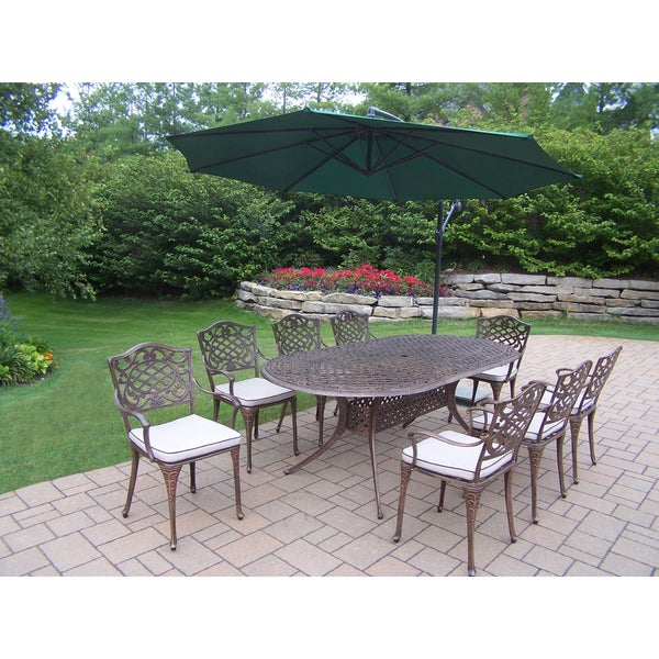 Outdoor Patio Piece Dining Set With Ft Green Cantilever - 10 foot outdoor dining table