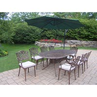 Outdoor Patio 10-Piece Dining Set with 10 ft Green Cantilever Umbrella