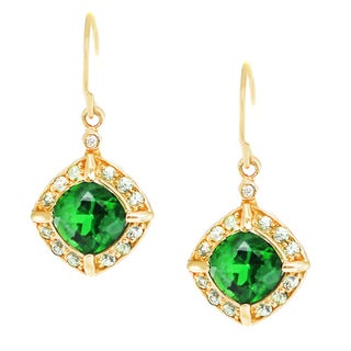 One-of-a-kind Michael Valitutti 14K Yellow Gold Quartz Doublet, Green Sapphire and Diamond Earrings