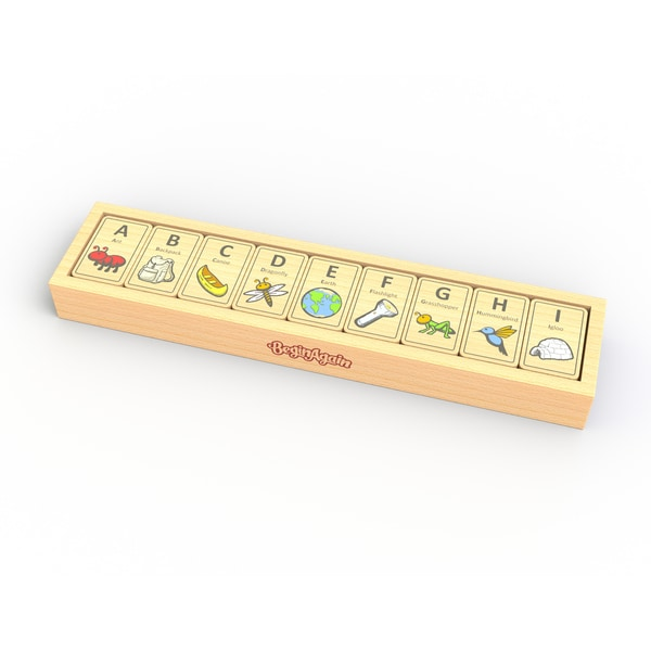 BeginAgain Toys Wood Alphabet Adventure Tiles