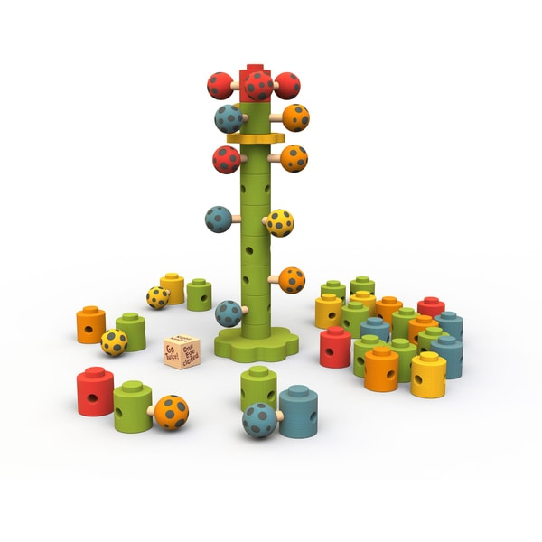 BeginAgain Toys Rubberwood Ladybug Flower Tower Game