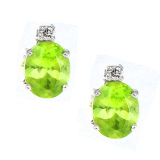 One-of-a-kind Michael Valitutti 14K Chrysoberyl and White Sapphire Stud Earrings