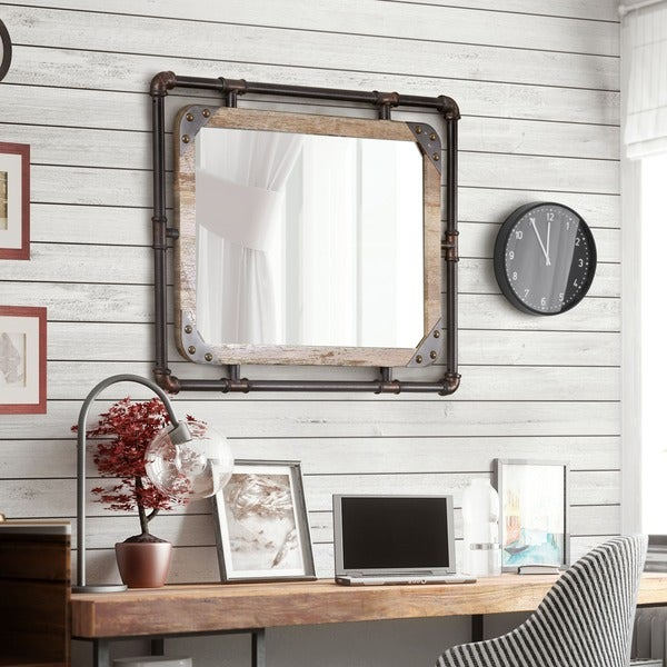 Furniture of America Revo Industrial Antique Black Framed Wall Mirror - Shop Furniture Of America Revo Industrial Antique Black Framed Wall