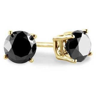 Trillion Designs 10k Yellow Gold 1/2ct TGW Princess Black Cubic Zirconia Stud Earrings