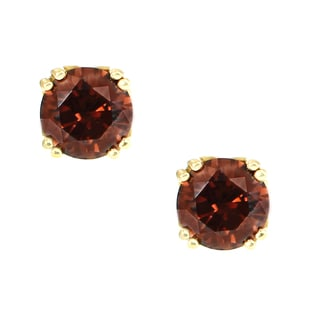 One-of-a-kind Michael Valitutti 14K Yellow Gold Rhodolite Stud Earrings