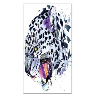 Designart 'Ferocious Snow Leopard Face' Large Animal Metal Wall Art