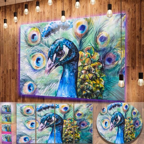 8b28132e4b Shop Designart 'Beautiful Peacock Watercolor' Animal Metal Wall Art ...
