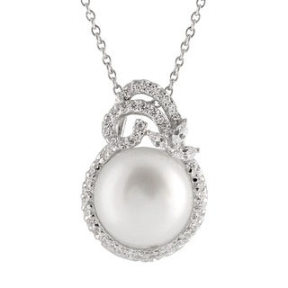 Fancy Sterling Silver Cubic Zirconia Encrusted Pearl Pendant - White