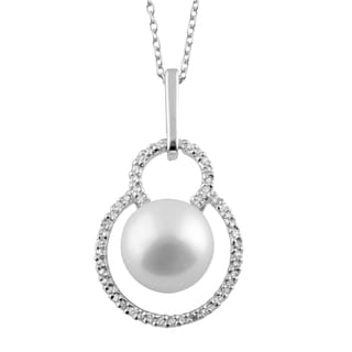 Fancy Cubic Zirconia and Pearl Pendant Set in Sterling Silver