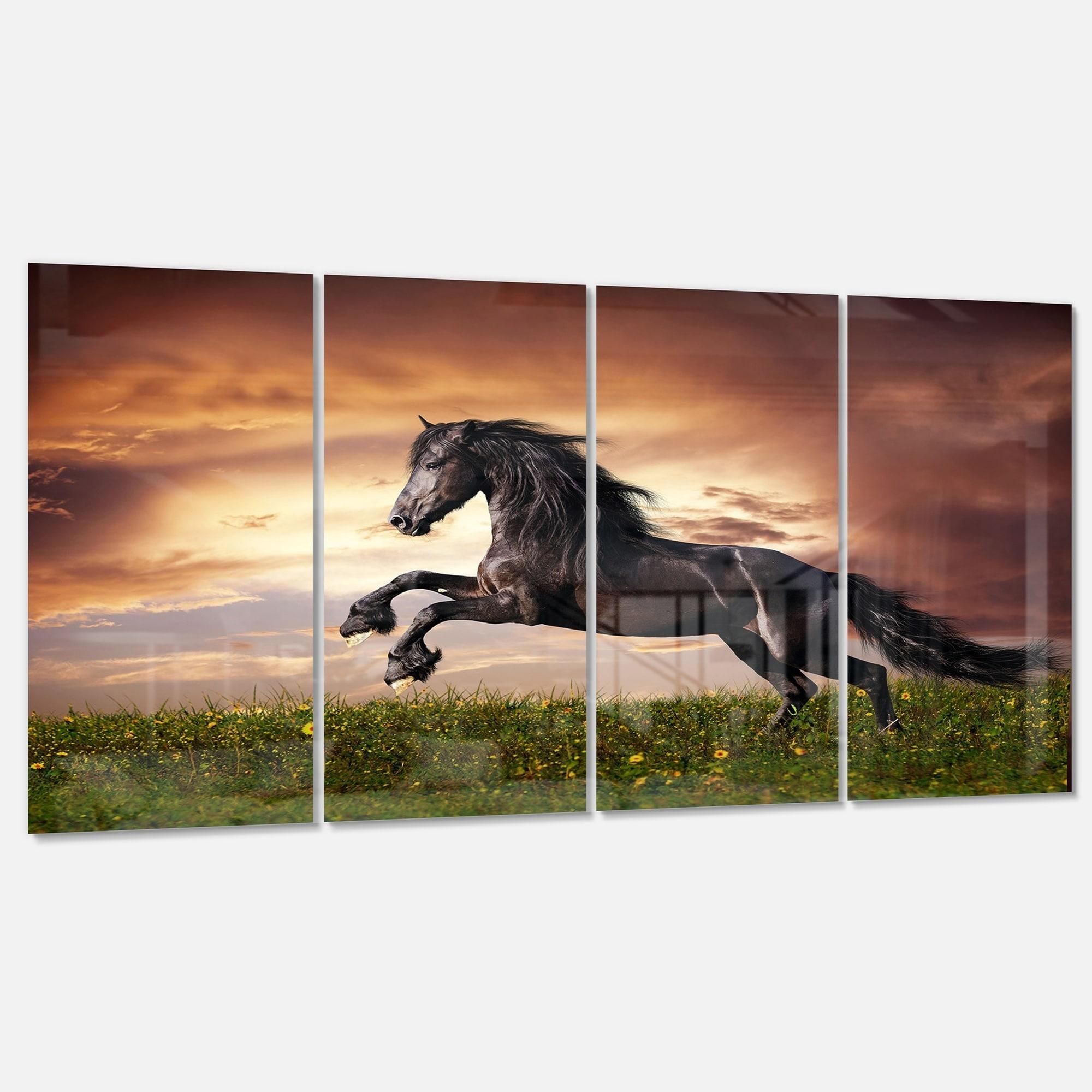 Designart Black Friesian Horse Gallop Animal Photography Metal Wall Art Overstock 13622393 23 X 23 Disc Of 23 Inch