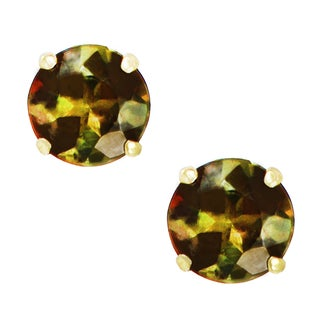 One-of-a-kind Michael Valitutti 14K Yellow Gold Andalusite Stud Earrings