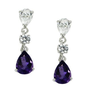 One-of-a-kind Michael Valitutti 10K White Gold Pear Amethyst and Cubic Zirconia Earrings|https://ak1.ostkcdn.com/images/products/13622421/P20293336.jpg?impolicy=medium