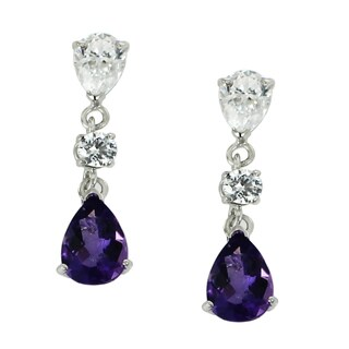 One-of-a-kind Michael Valitutti 10K White Gold Pear Amethyst and Cubic Zirconia Earrings