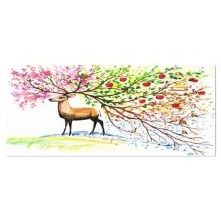 Designart 'Deer with Beautiful Horn' Animal Aluminium Wall Art