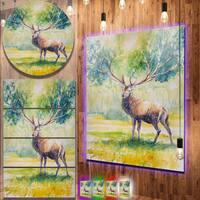 Designart 'Deer with Blue Horn' Animal Aluminium Wall Art