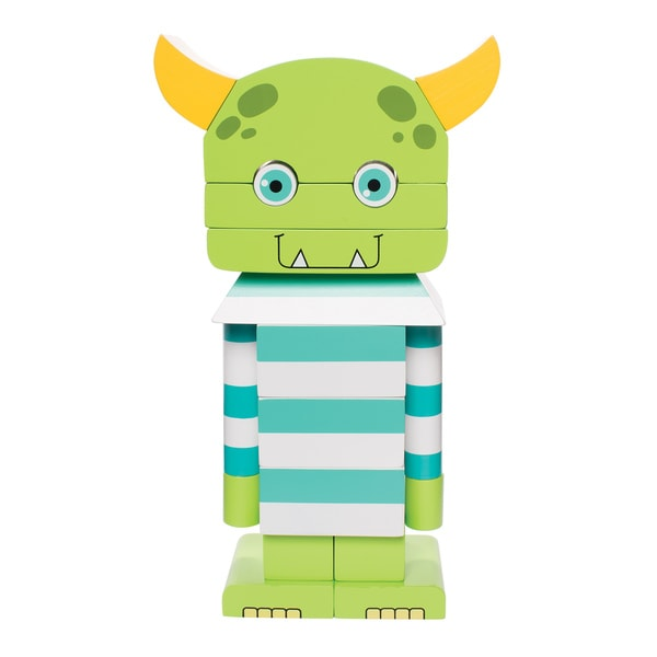 Manhattan Toy Monty The Monster Magnetic Wooden Stacking Block Puzzle