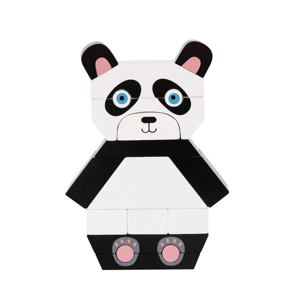 Manhattan Toy Patches the Panda Wooden Magnetic Stacking Block Puzzle