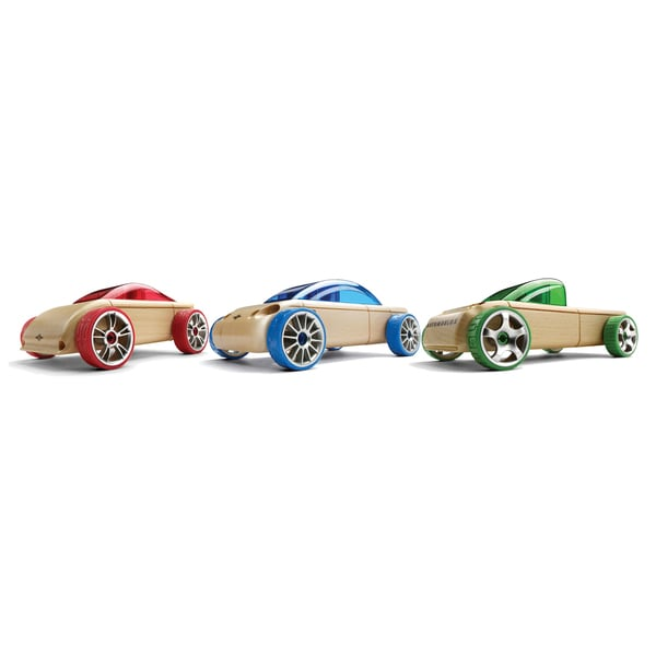 Automoblox Mini S9, C9, and T9 Multicolor Wood Model Cars (Pack of 3)