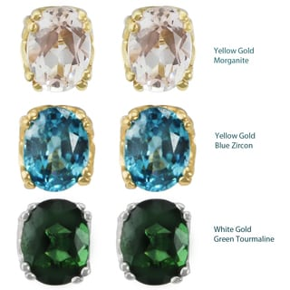 One-of-a-kind Michael Valitutti 14K Yellow Gold Morganite, Blue Zircon or Green Tourmaline Stud Earrings