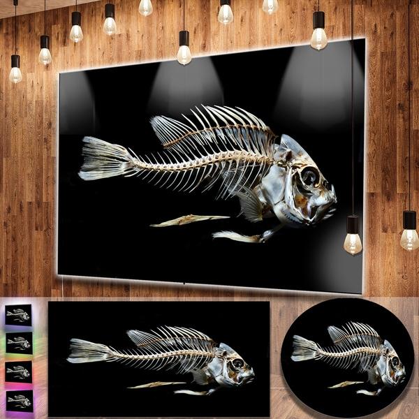 Designart X27 Fish Skeleton Bone On Black Large Animal Metal