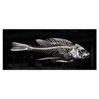 Designart 'Fish Skeleton Bone on Black' Large Animal Metal Wall Art