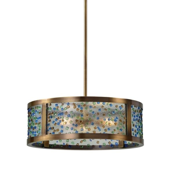 Uttermost Fuso 3 Light Drum Pendant - Brown