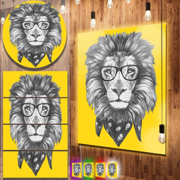 Designart \'Lion with Glasses and Scarf\' Large Animal Metal Wall Art ...