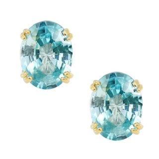 One-of-a-kind Michael Valitutti 14K Yellow Gold Aquamarine Stud Earrings