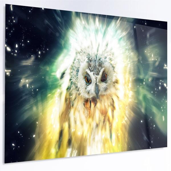 Designart \'Owl over Colorful Abstract Image\' Large Animal Metal Wall ...